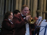Lisa on Soprano Cornet with WCB Pershore Brass Pershore Abbey2010 (13)